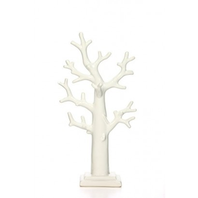Hosley 11 40 High Ring And Necklace Holder Ceramic Tabletop Tree Sculpture White Home Accents Decor