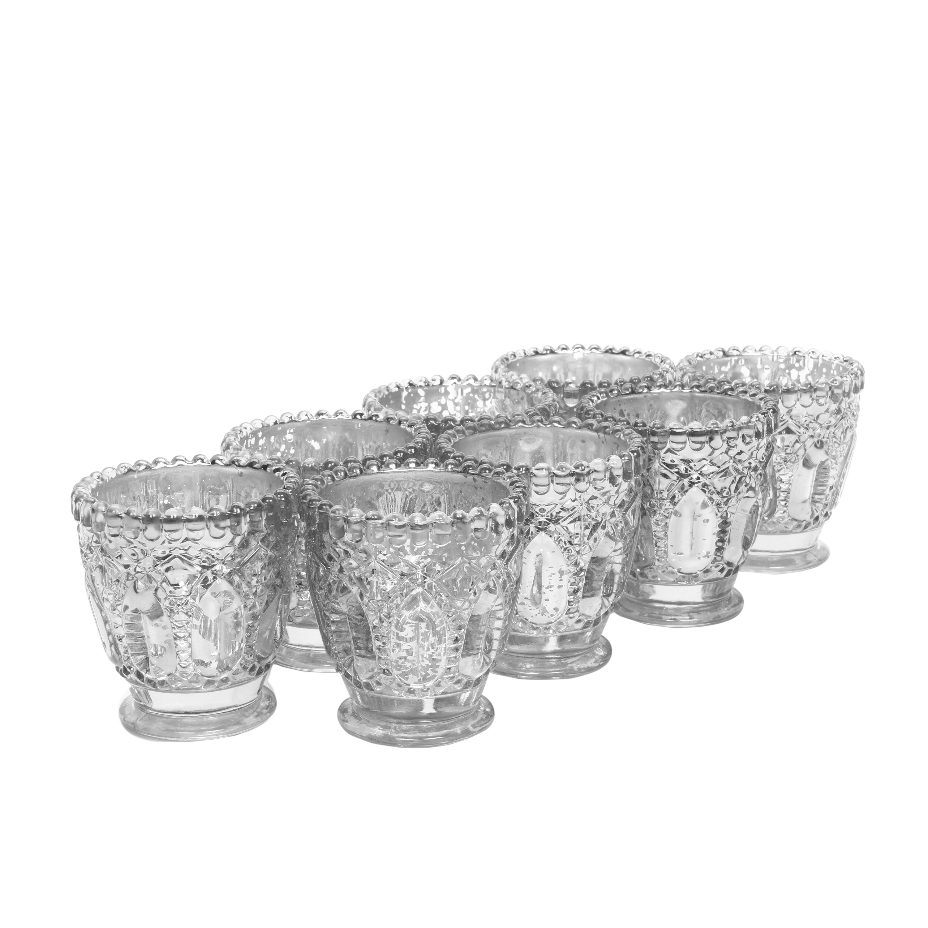 017a3bc1c3f9 Hosley s Set of 8 Silver Glass Candle Holder - 3.15
