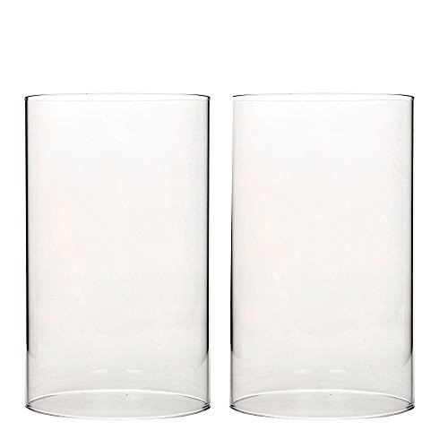 Hosley S Set Of 2 7 Inch High Clear Glass Hurricane Candle Holder Candlelight